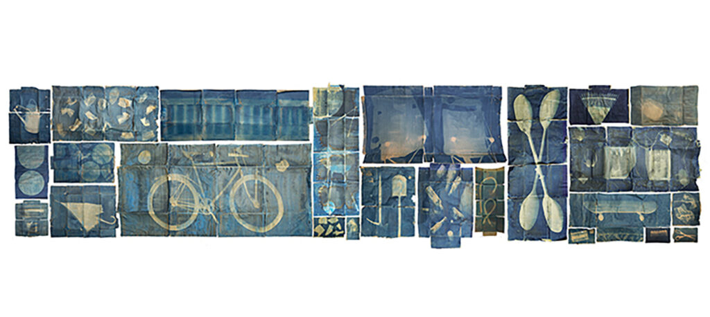 Brittonie Fletcher and S2 JGHS students Scotland Pandemic Wall Cyanotype